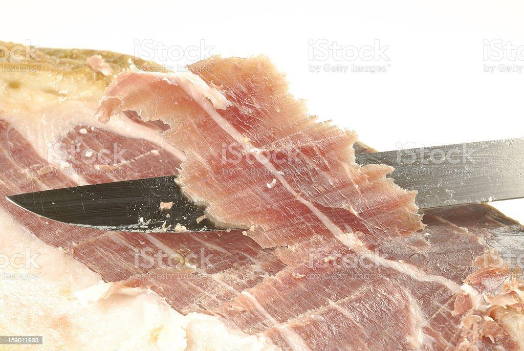 Iberian ham strips cut royalty-free stock photo