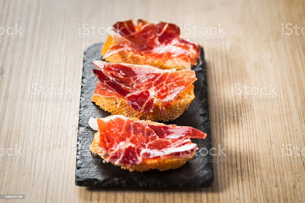 Jamon iberico tapas stock photo