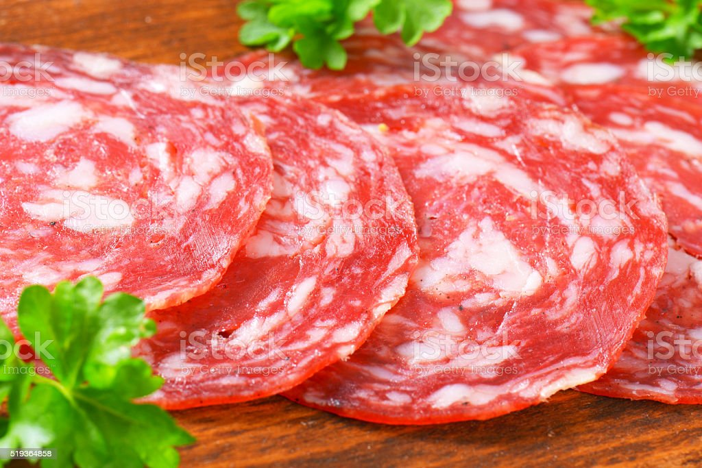Iberian salchichon stock photo