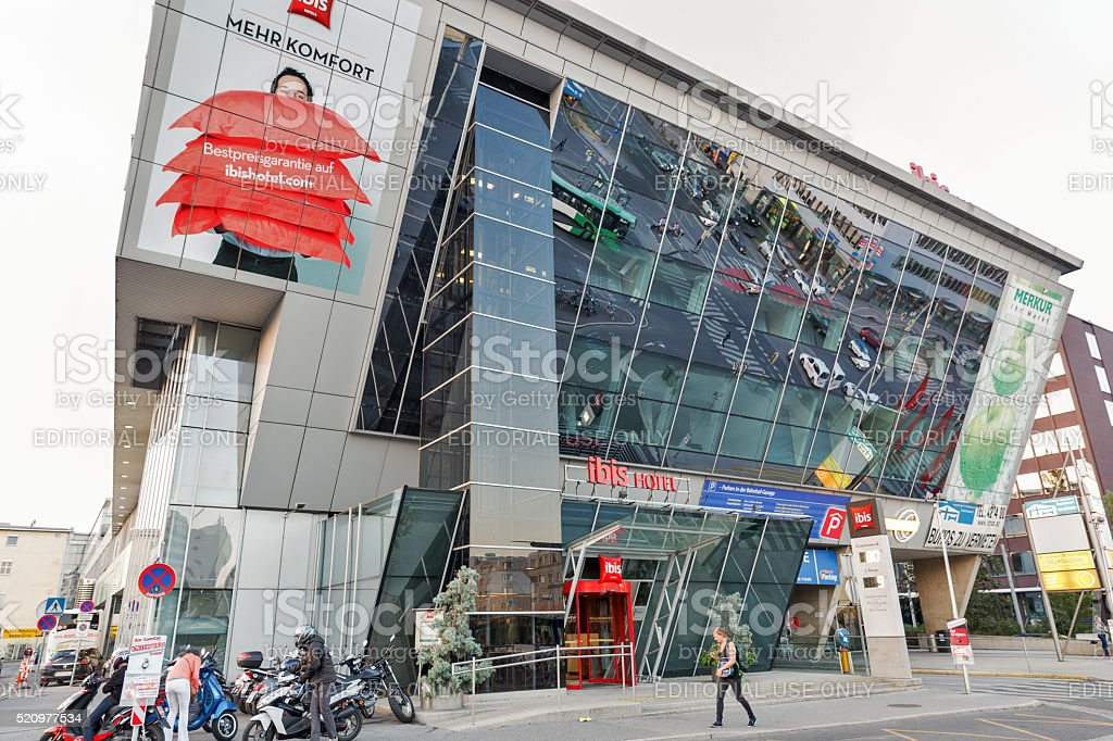 Ibis Hotel close to Graz Hauptbahnhof railway station in Austria. stock photo