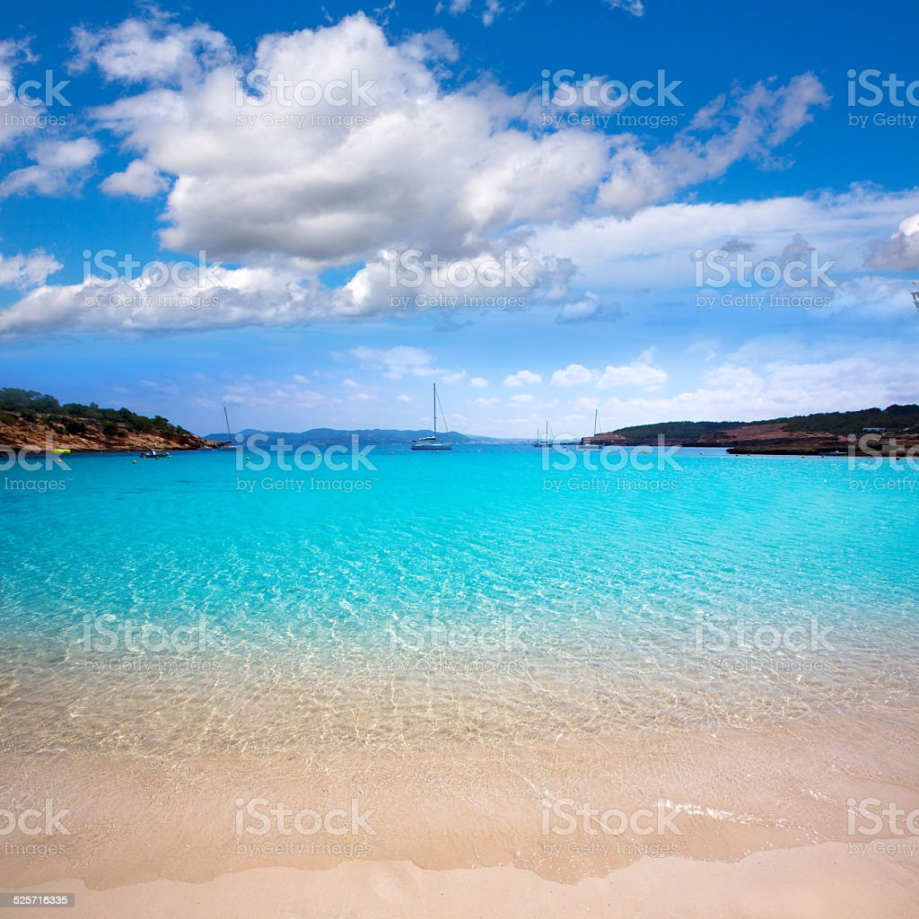 Ibiza Cala Bassa beach with turquoise Mediterranean stock photo