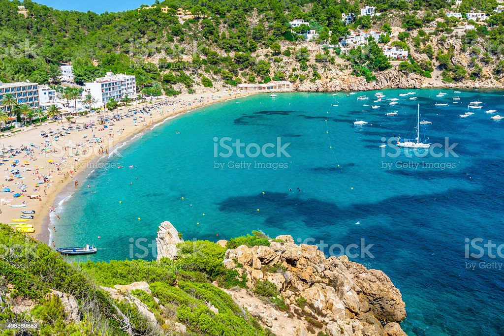 Ibiza Cala de Sant Vicent  beach turquoise stock photo