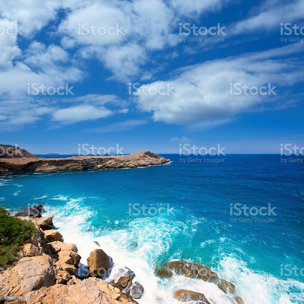 Ibiza Punta de Sa Galera beach in San Antonio stock photo
