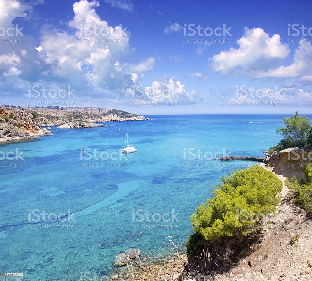 Ibiza Punta de Xarraca turquoise beach stock photo