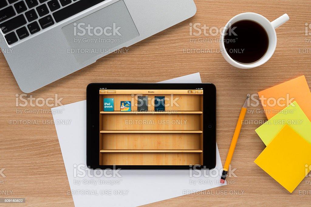 iBooks on Apple iPad stock photo