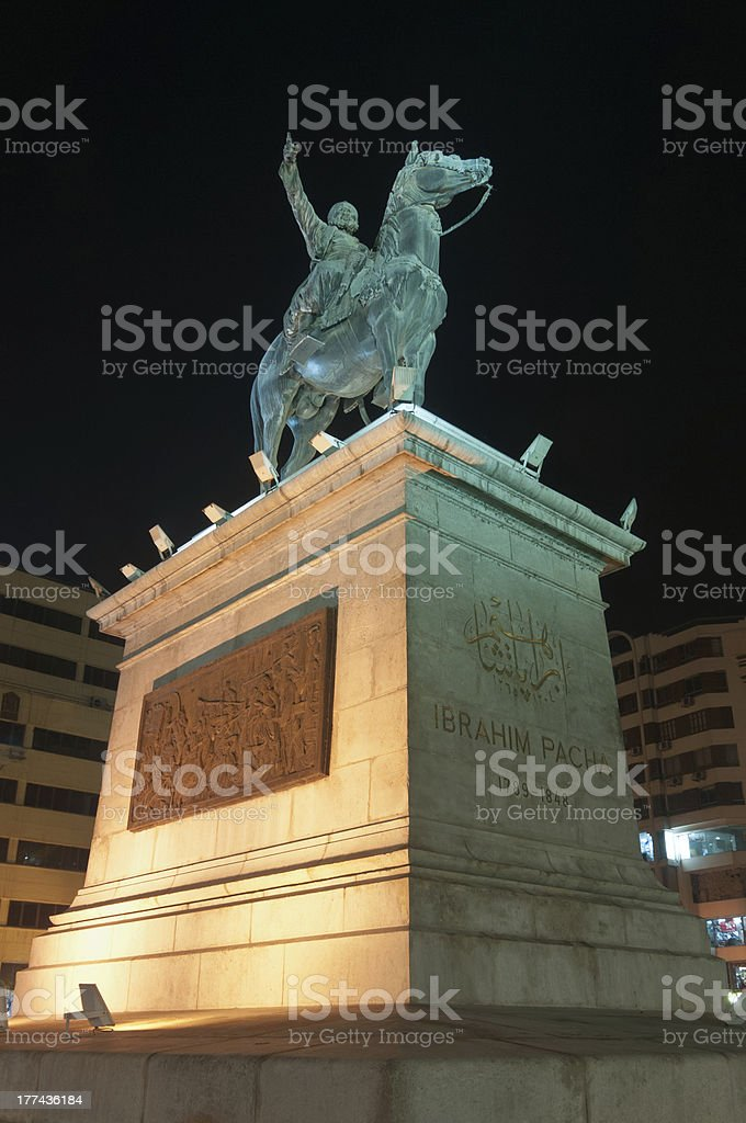 Ibrahim Pasha statue at night, Cairo royalty-free stock photo