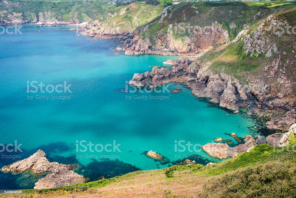 Icart point landscape, Guernsey stock photo