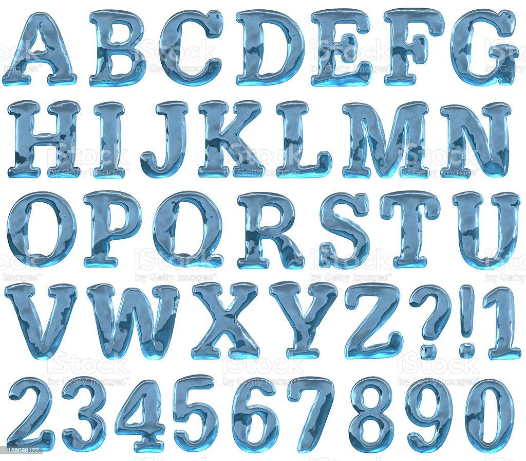 Ice alphabet stock photo
