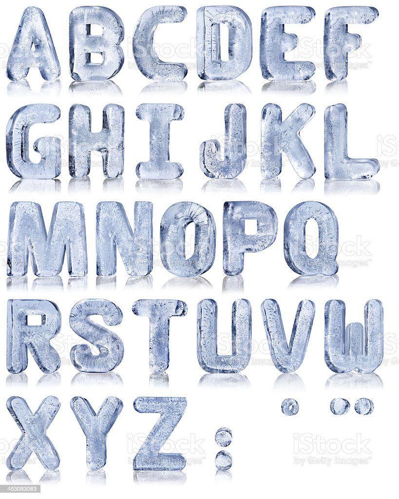 Ice alphabet stock photo