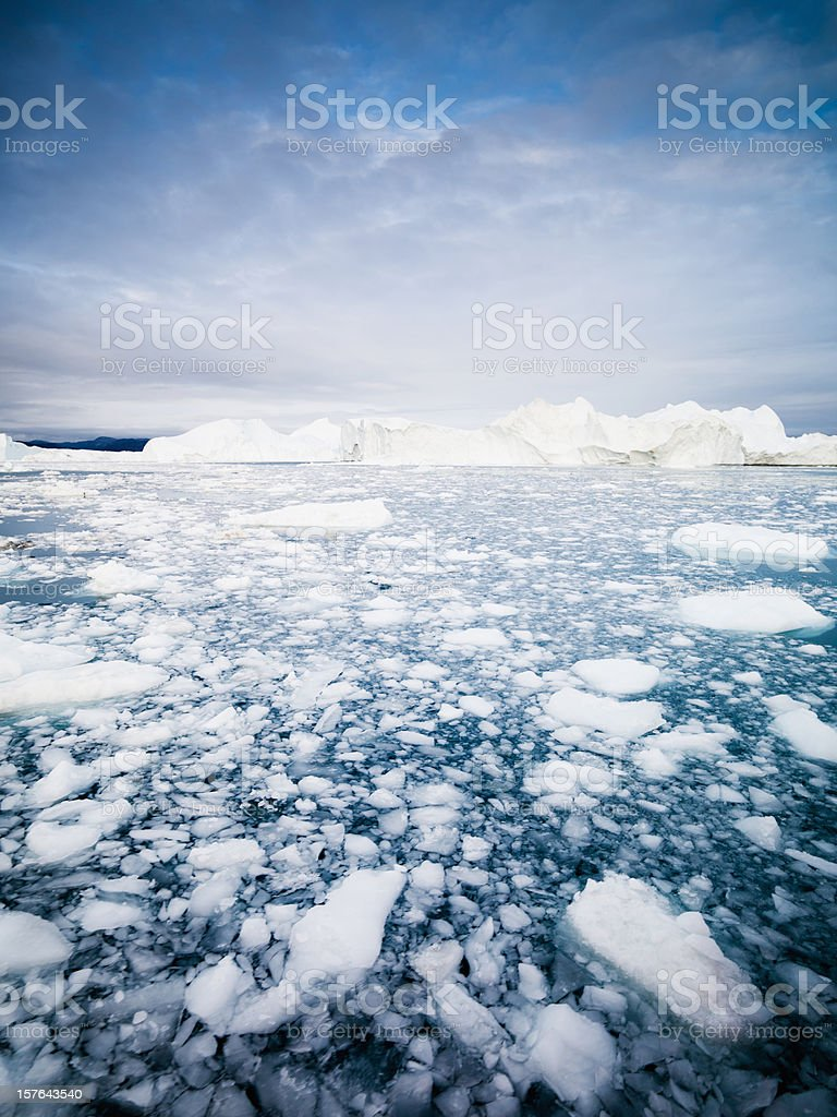 Ice and Icebergs in Artic Ocean Greenland stock photo