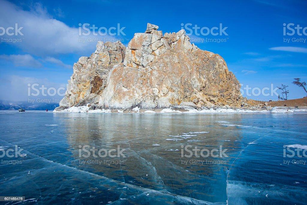 Ice and rocks of lake Baikal stock photo