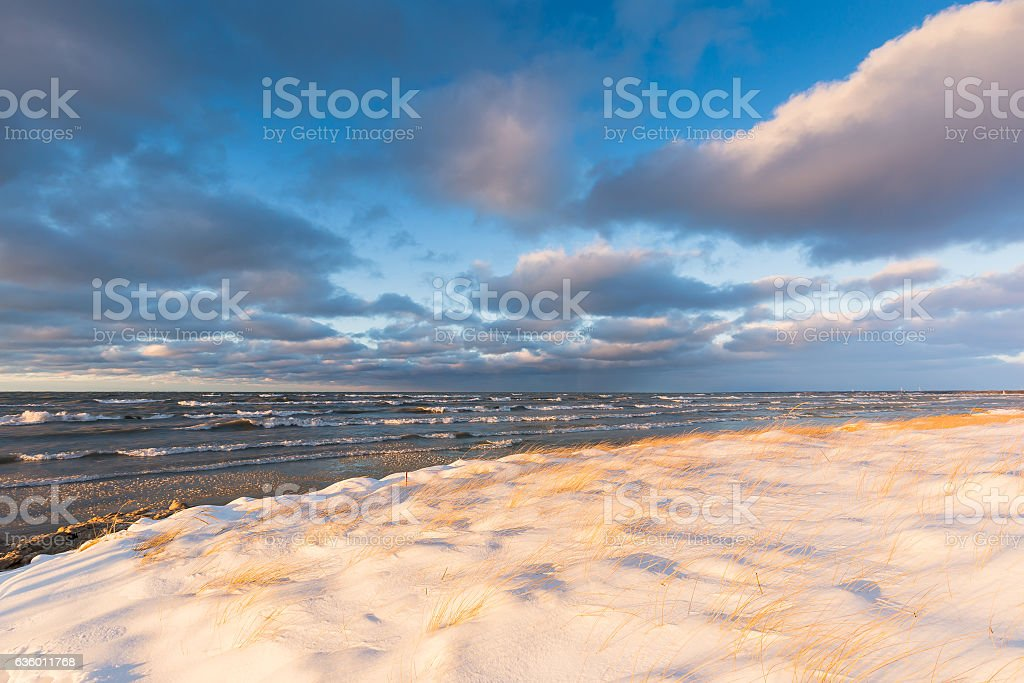 Ice and Snow on a Lake Huron shoreline in December stock photo