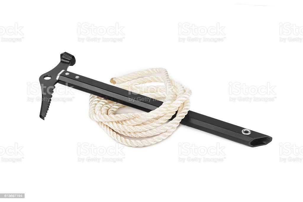 Ice axe and rope stock photo