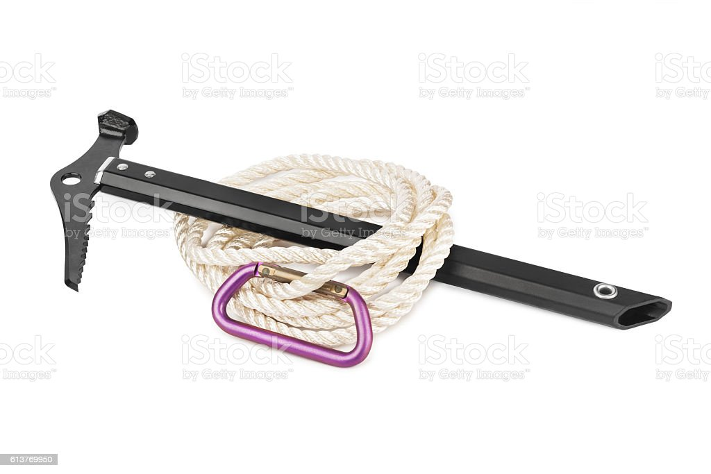 Ice axe, carbine and rope stock photo