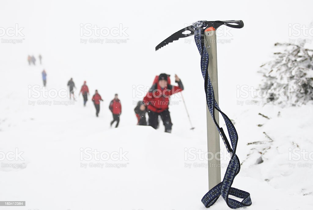 ice axe in snow royalty-free stock photo