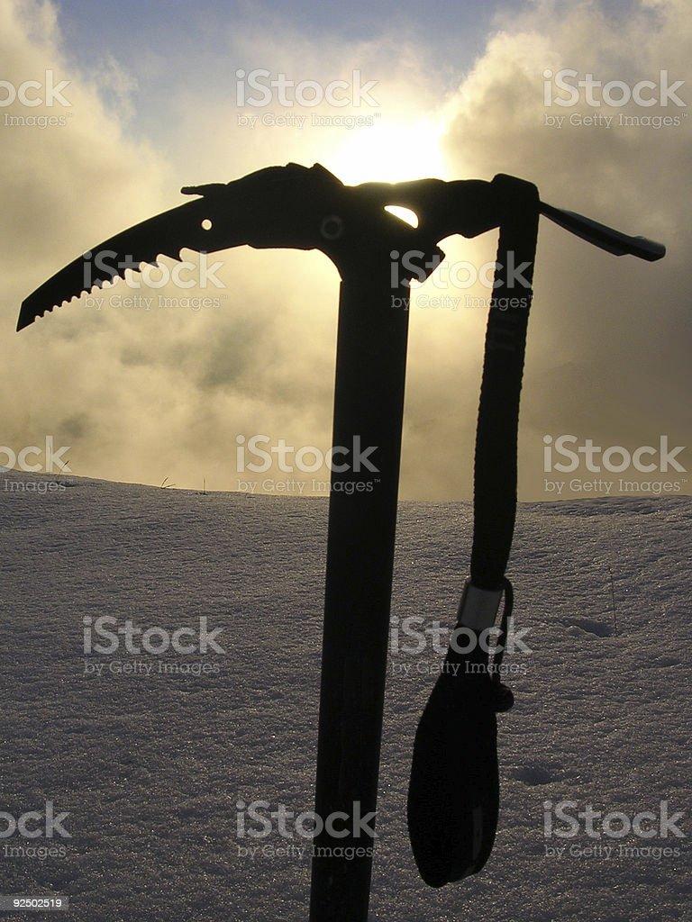 Ice Axe Sunset royalty-free stock photo