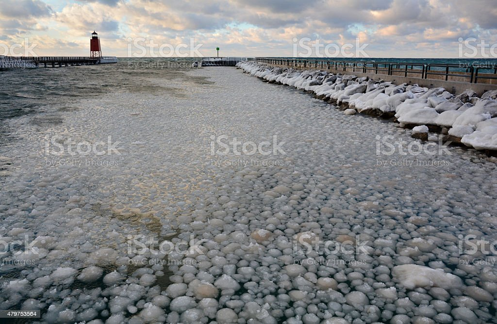 Ice Balls Fill a Channel in Lake Michigan royalty-free stock photo