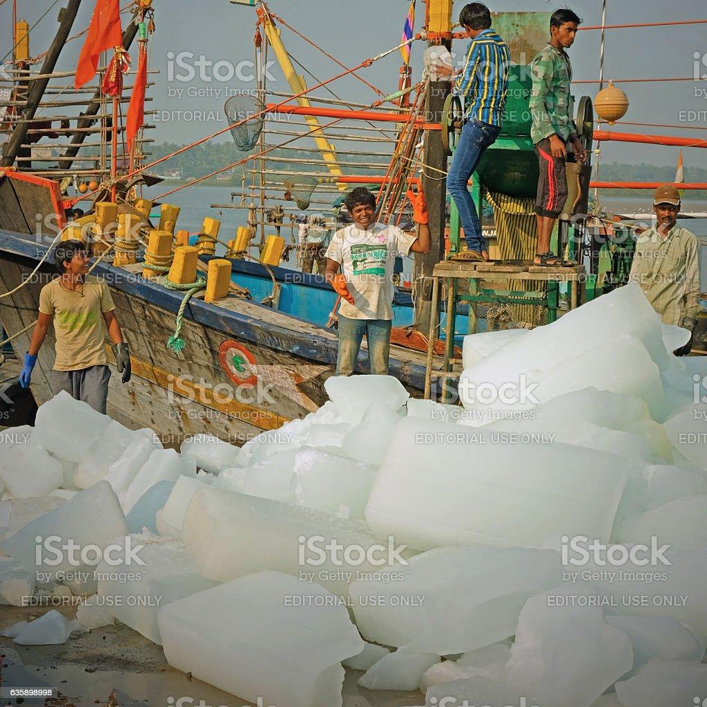 Ice blocks going aboard stock photo