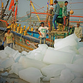 Ice blocks going aboard