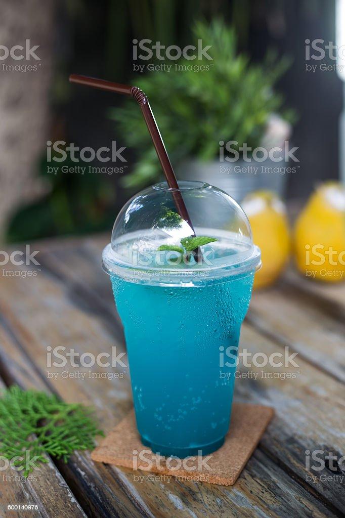 ice blue hawaii soda drink stock photo