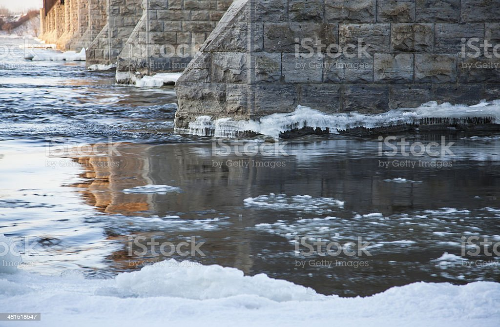 ice break-up under St. Lawrence Bridge royalty-free stock photo