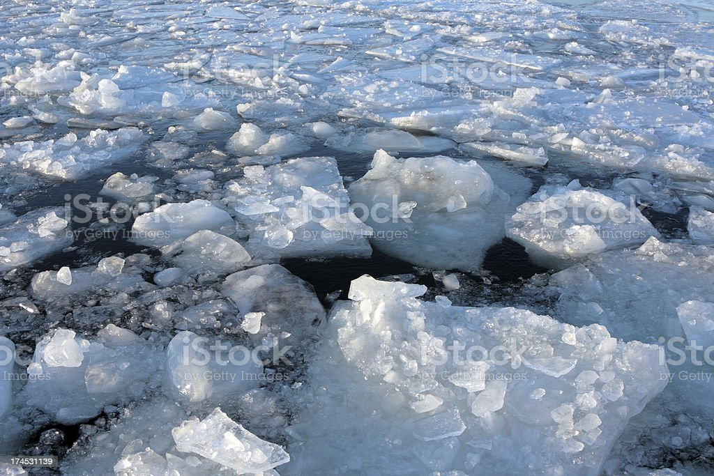 Ice broken by icebreaker royalty-free stock photo