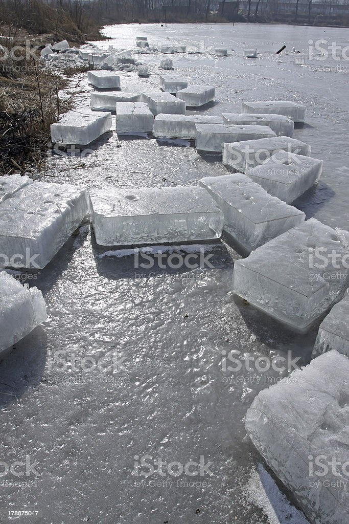 ice by the river stock photo