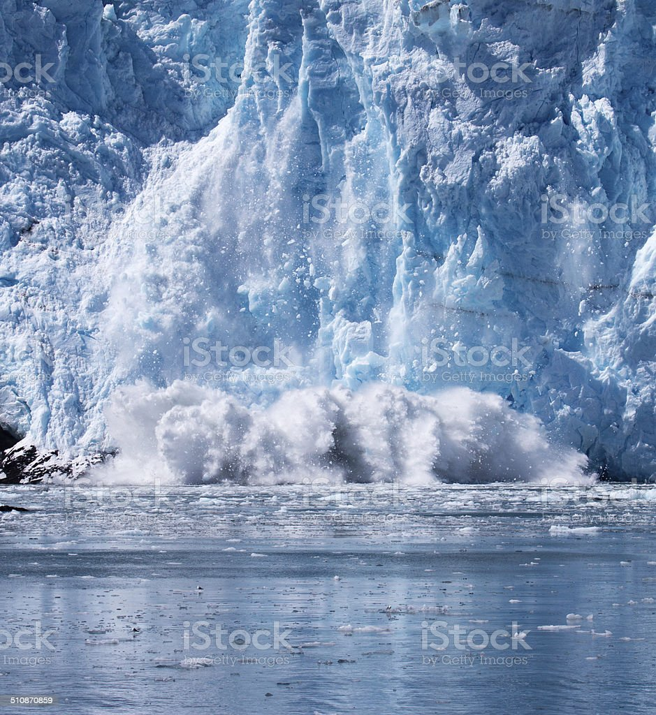Ice calving off Surprise Glacier stock photo