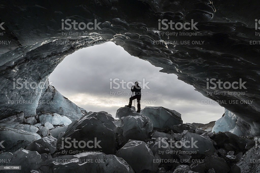Ice cave at Skaftafell, Iceland royalty-free stock photo