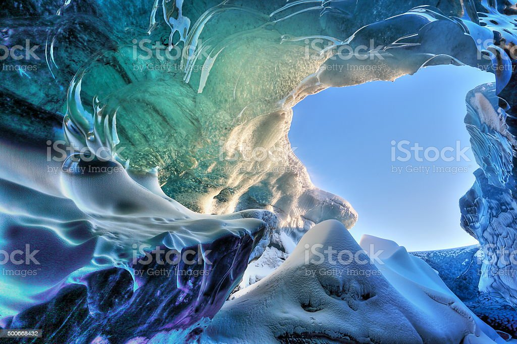 Ice cave detail stock photo