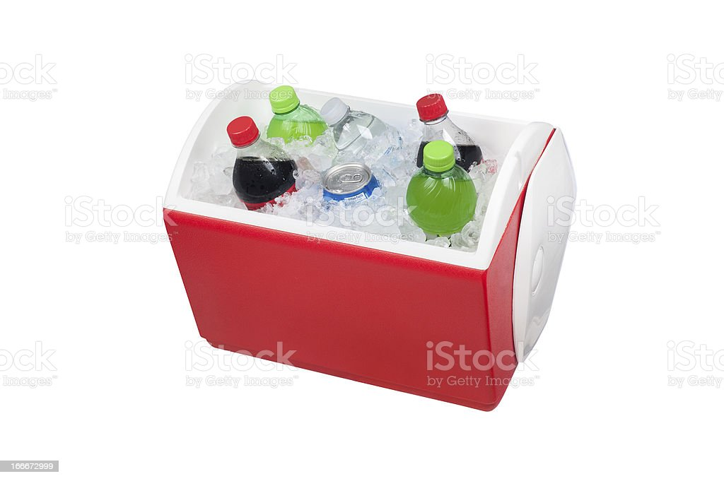 Ice chest and drinks stock photo