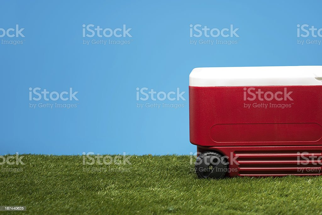 Ice Chest On Grass stock photo