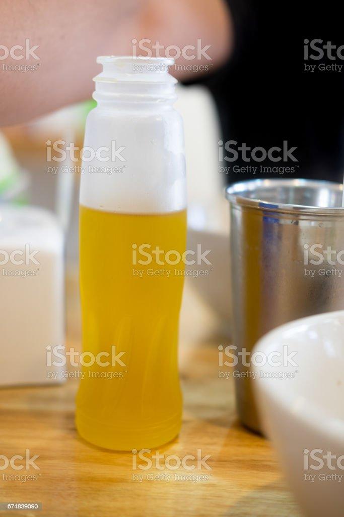 Ice Chrysanthemum tea in plastic bottle, oriental style herb tea stock photo