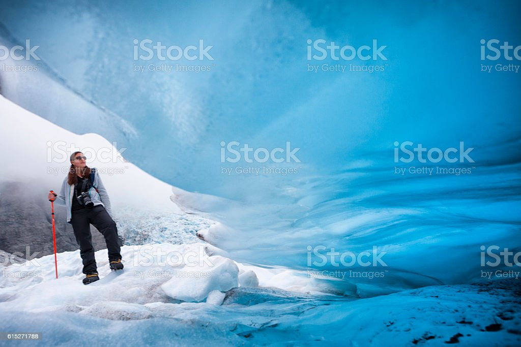 Ice climber on Franz Josef Glacier, New Zealand stock photo