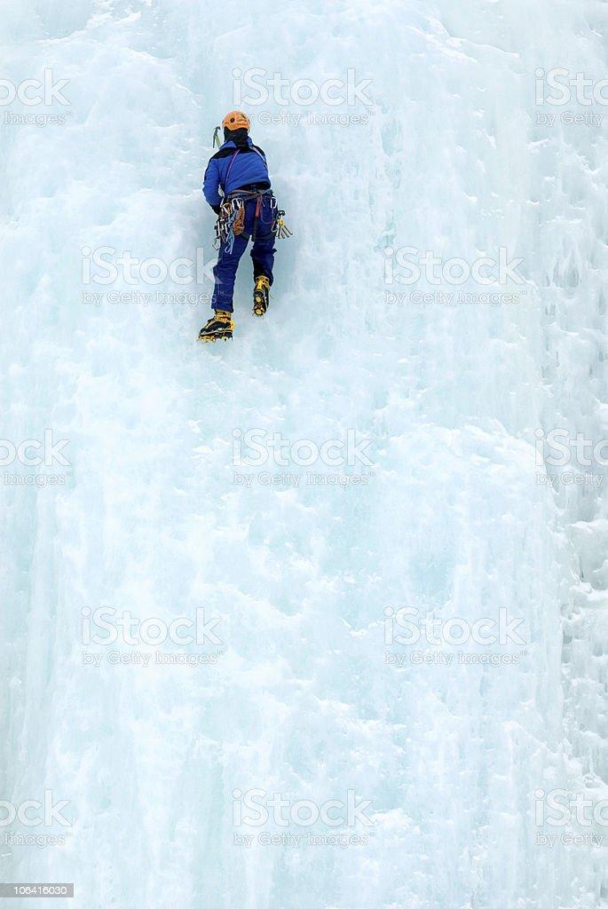 Ice climber on wall stock photo
