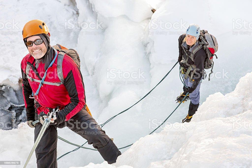 Ice Climbing Couple royalty-free stock photo