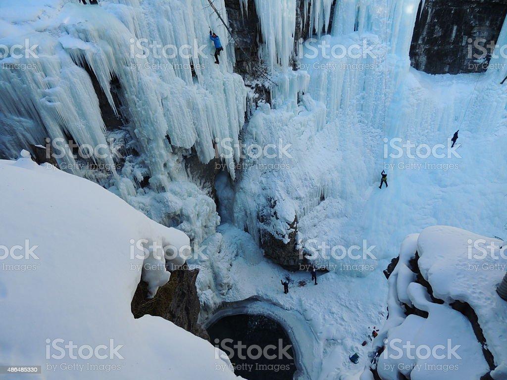 Ice climbing crag stock photo