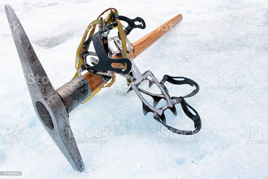 Ice climbing equipment on Franz Josef Glacier in New Zealand stock photo