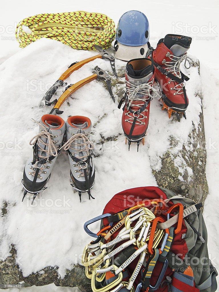 Ice Climbing gear stock photo