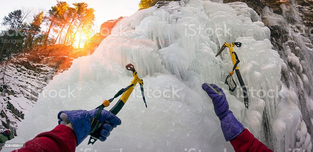 Ice climbing in Manyava stock photo
