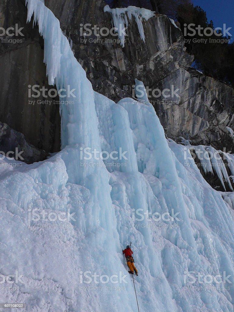 ice climbing in the Swiss Alps stock photo