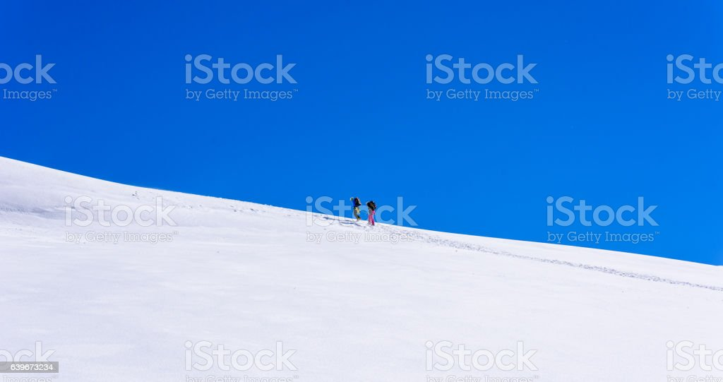 Ice Climbing on glacier in Switzerland - Aletsch Glacier stock photo