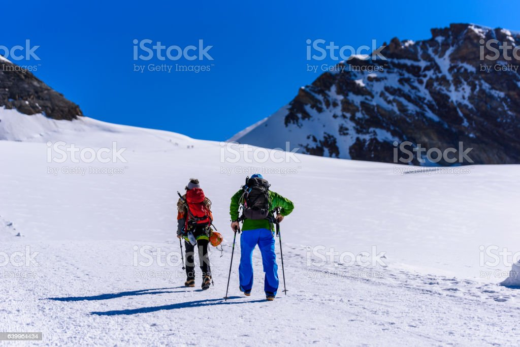 Ice Climbing on glacier in Switzerland - Aletsch Glacier stock photo