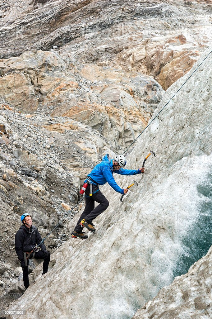 Ice climbing on Lemon Glacier stock photo