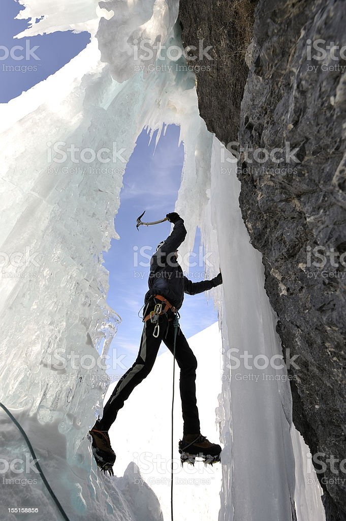 Ice climbing royalty-free stock photo