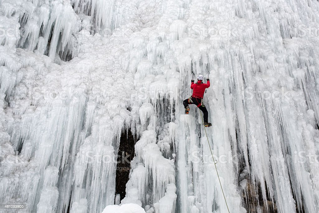 Ice climbing stock photo