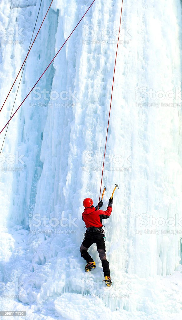 ice climbing. stock photo