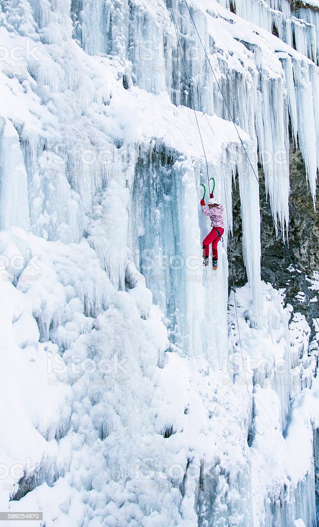 ice climbing. stock photo