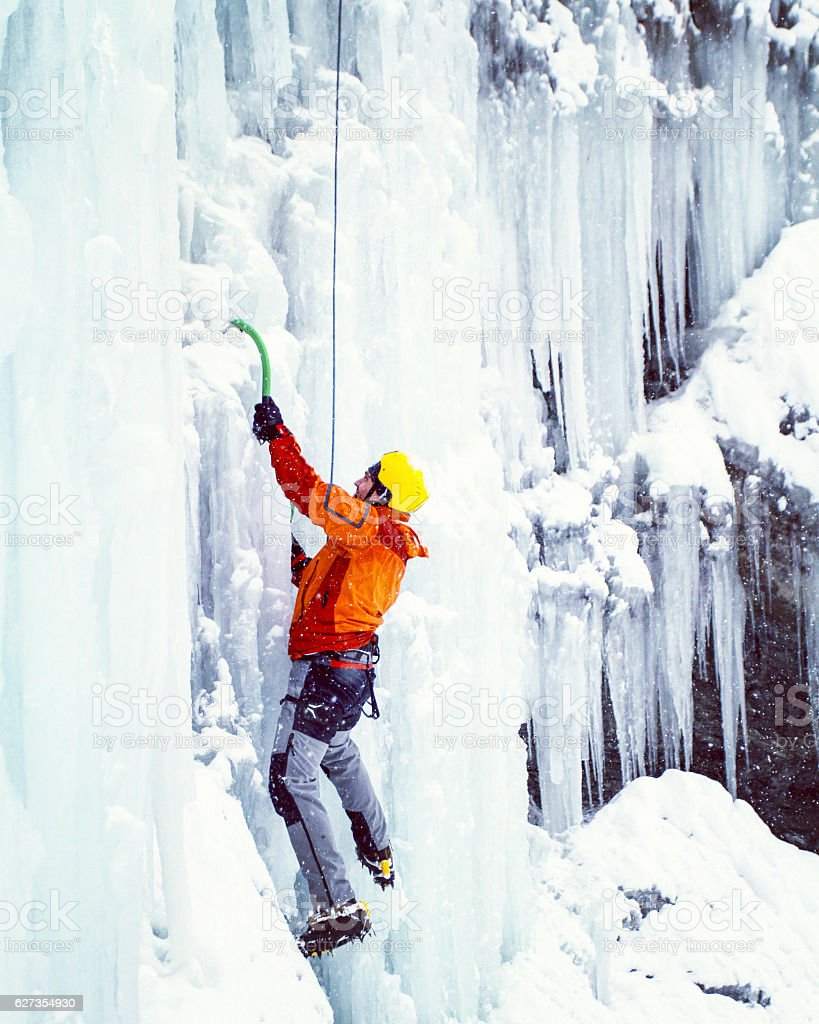 Ice climbing the North Caucasus. stock photo
