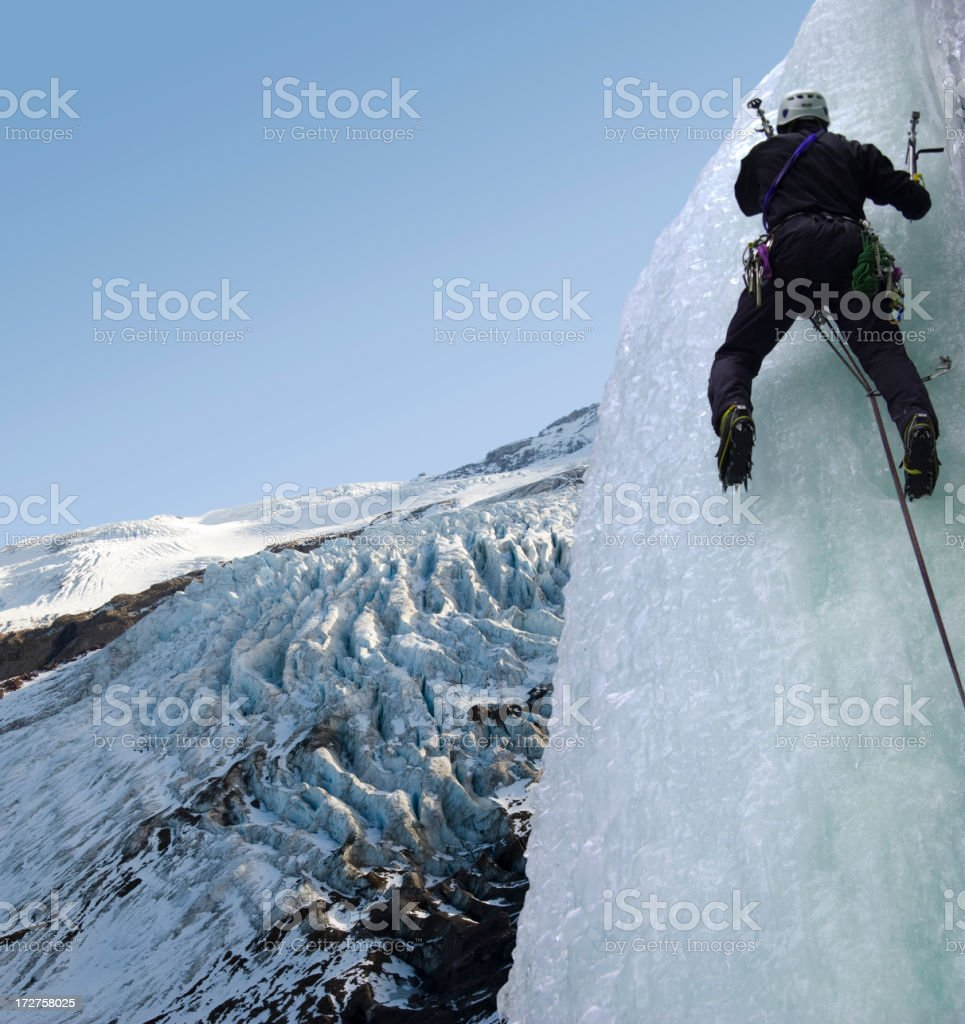 Ice Climbing While Mountaineering royalty-free stock photo